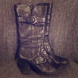 Born Crown Tall Black Leather Boots size 8.5